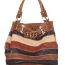Brown Tan Stripe Buckle Hobo Handbag Tote Purse Bag