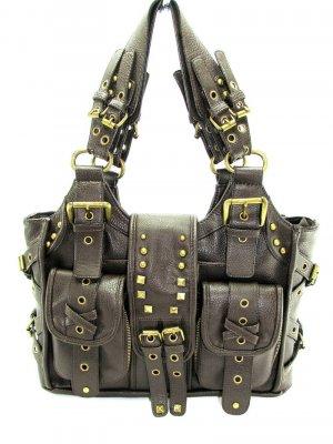 Brown Motorcycle Metal Buckle Handbag Tote Purse Bag