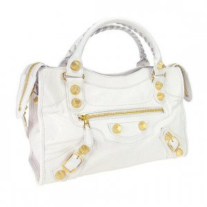 Ivory White Motorcycle Hobo Tote Handbag Purse Bag