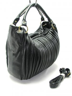 Black Pleated Fold Hobo Tote Handbag Purse Fashion Bag