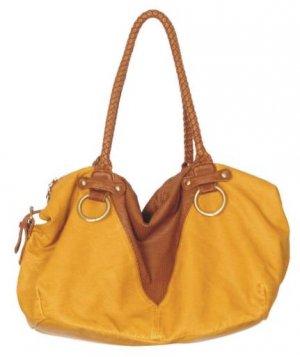 Yellow Tan Braid Stone Wash Hobo Tote Handbag Purse Bag