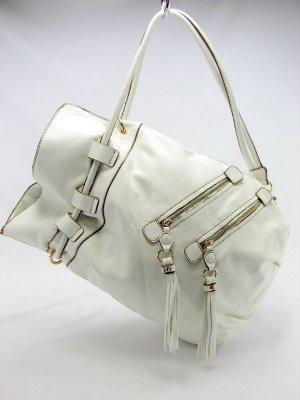 White Melie Bianco Double Zip Handbag Purse Hobo Bag