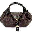 REAL LEATHER Dark Brown Spy Hobo Tote Handbag Purse Bag