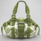 Green Floral Handbag Canvas Satchel Bag By Rina Rich