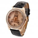 Crystal Eiffel Tower Leather Watch new FREE SHIPPING #501