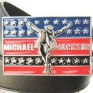 NEW Michael Jackson metal colorful buckle black belt