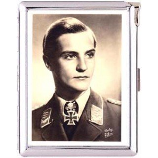 H5S454 Cigarette Case with lighter German Pilot Picture Free shipping