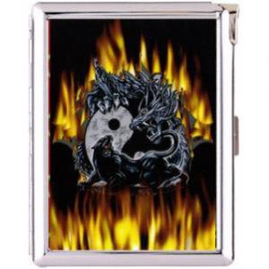H5S133 Cigarette Case with lighter Skull Dragon Picture Free shipping