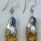 Earring: Amber Drop w/Gemstone