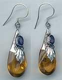 Earring: Amber Drop w/Gemstone