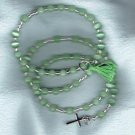 Genuine Lime Green Cats Eye Wrap Around 5 decade Rosary Bracelet