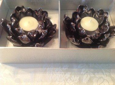 8 Lotus Votive Candle Holder Black Pearlized decorate/wedding Tealight