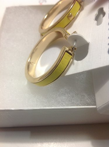 Liz claiborne Gold-Tone Studded Yellow Leather Hoop Earrings