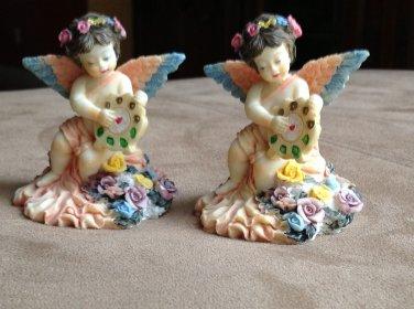 Pair of Ceramic Angel Figurines 3 inches