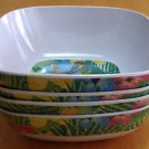 Set of 4 Melamine Cereal Bowls Tropical Parrot New 6inx3in