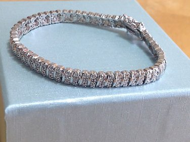 1 Cttw Round Diamonds Womens 3 Row Tennis Bracelet White Gold Finish 7""