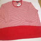 Womens Premise Studio Red & White Striped Knit Top Plus Size 0X