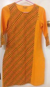 AURELIA Orange Kurta/Tunic Dress w/Vented Hem & 3/4 Sleeve Size XS