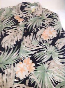 Island Republic Silk Tropical Print Short Sleeve Button Front Shirt Size M
