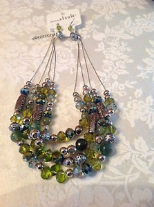New Charming Charlie Stunning Silver Green Earring & Necklace Set