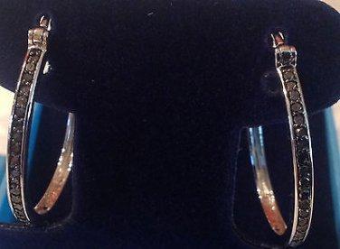 Genuine 1/2 Carat Black Diamond Hoop Earrings in Sterling Silver, over 1 inch