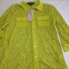 NWT Peck & Peck LACE BUTTON FRONT KNIT TOP Open Weave SHIRT BLOUSE S