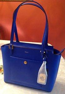 NWT Ralph Lauren Newbury Pocket Leather Satchel Handbag Tote Pacific Blue