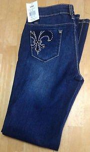 YMI Girls Skinny Boot Blue Jeans Size 12 New 26x28 inseam. Fleur de lis