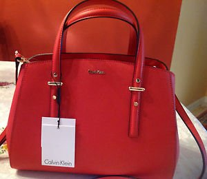 calvin klein womens textured saffiano leather triple compartment tote bag Red