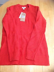 Lands End Women's Canvas Crew Neck Long Sleeve Sweater Red XS