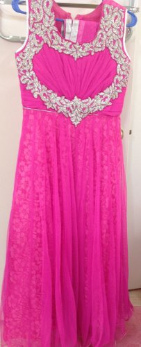 Fabulous Embellished Pink Girls Net Gown Party Ethnic Wear Size 36