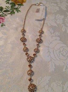 Antique Looking Y Goldtone Rhinestone Necklace
