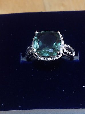 Sterling Silver TCW 3.3ct Green Amethyst and Diamond Ring (J-K,12) Size 5 $299