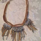 Silvertone Goldtone Double Bib Necklace Chain Rhinestones $58.00