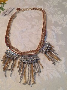 Silvertone Goldtone Double Bib Necklace Chain Rhinestones $58.00