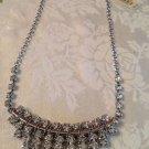 Silvertone Rhinestone Silver Bib Chain Necklace $55