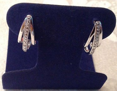 Diamond J Hoop Fashion Earrings Platinum Overlay .01 Carats