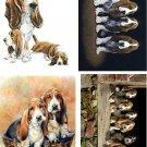 Lot Of 4 Bassett Hound Dog Fabric Panel Quilt Squares