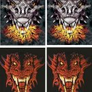 Lot Of 4 Dragons Head Fabric Panel Quilt Squares
