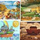 Lot Of 6 Noahs Ark Fabric Panel Quilt Squares