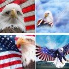 Lot Of 6 Patriotic Eagle Fabric Panel Quilt Squares