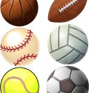 Lot Of 6 Sports Balls Fabric Panel Quilt Squares