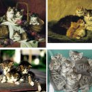 Lot Of 12 Kittens Cat Fabric Panel Quilt Squares