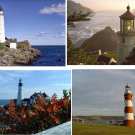 Lot Of 12 Lighthouses Fabric Panel Quilt Squares