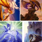 Lot Of 12 Nice Dragon And Wizard Fabric Panel Quilt Squares