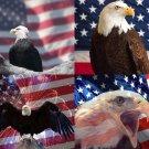 Lot Of 12 Patriotic Eagle USA Fabric Panel Quilt Squares