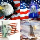 Lot Of 12 Patriotic Eagle USA LOOK Fabric Panel Quilt Squares