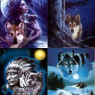 Lot Of 12 Wolves And Indians Fabric Panel Quilt Squares