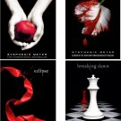 Lot Of 4 Twilight Saga Book Cover Fabric Panel Quilt Squares