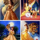 Lot Of 4 Beauty And The Beast Fabric Panel Quilt Squares